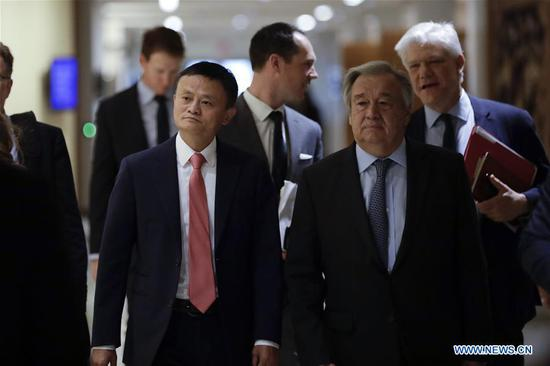 Jack Ma (L, front) of China's Alibaba Group and United Nations Secretary-General Antonio Guterres (R, front) arrive to attend a high-level panel on digital cooperation at the UN Headquarters in New York, June 10, 2019. Jack Ma of China's Alibaba Group joined United Nations Secretary-General Antonio Guterres and Melinda Gates of the Gates Foundation in a live conversation here on Monday to discuss global digital cooperation for a safer and more sustainable future of the digital industry. (Xinhua/Li Muzi)