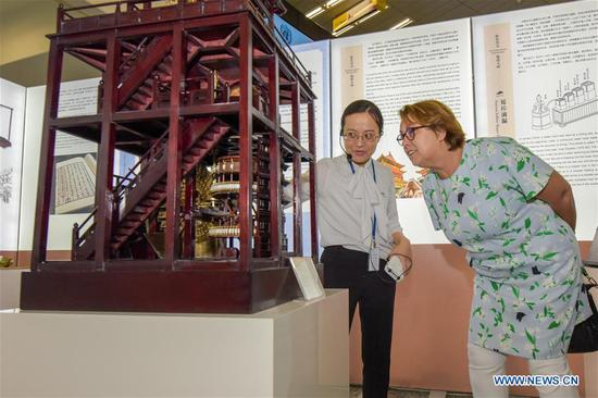 Simonetta Di Pippo (R), Director of the United Nations Office for Outer Space Affairs, visits the Chinese navigation exhibition