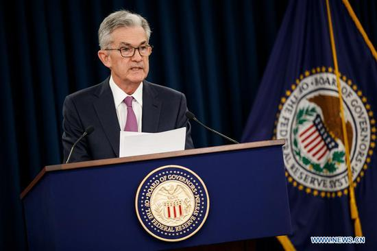 U.S. Federal Reserve Chairman Jerome Powell speaks at a press conference in Washington D.C., the United States, on June 19, 2019. The U.S. Federal Reserve on Wednesday left interest rates unchanged as officials weighed mixed signals on the health of the U.S. economy and the impact of trade tensions. (Xinhua/Ting Shen)