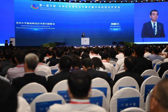 Justin Yifu Lin, former senior vice president and chief economist at the World Bank, delivers a speech at the China-Africa Economic and Trade Expo in Changsha, central China's Hunan Province, June 27, 2019. (Xinhua/Xue Yuge)