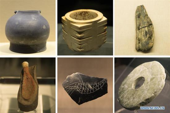 Combo photo shows artifacts excavated from the Liangzhu relic site in Hangzhou, capital of east China's Zhejiang Province. China's Archaeological Ruins of Liangzhu City was on Saturday inscribed to the UNESCO World Heritage List as a cultural site, bringing the total number of the Asian country's sites on the list to 55. (Xinhua/Weng Xinyang)