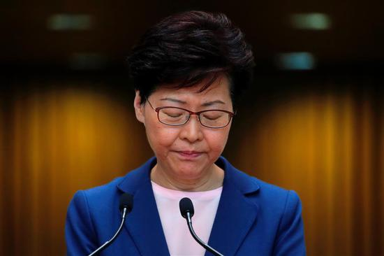 Hong Kong Chief Executive Carrie Lam speaks to media on the extradition bill in Hong Kong.