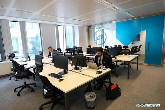 Photo taken on July 9, 2019 shows a view of the ZTE Cybersecurity Lab Europe in Brussels, Belgium. Chinese telecom giant ZTE launched its Cybersecurity Lab Europe in Brussels on Tuesday. (Xinhua/Zhang Cheng)