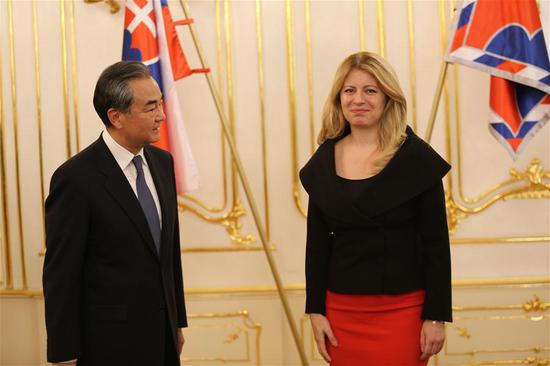 Slovak President Zuzana Caputova (R) meets with visiting Chinese State Councilor and Foreign Minister Wang Yi in Bratislava, Slovakia, July 10, 2019. (Xinhua/Jiang Xue)