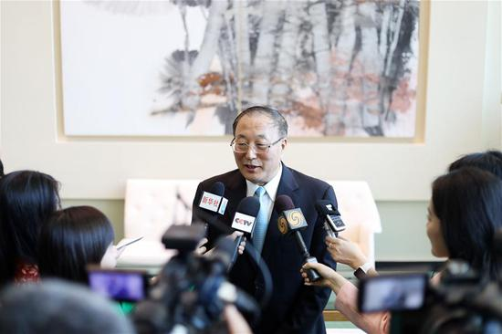 Zhang Jun, the new China's permanent representative to the United Nations, speaks to the press at the UN headquarters in New York, July 30, 2019. On the first day of taking post as China's permanent representative to the United Nations, Zhang Jun pledged on Tuesday that China, one of the five permanent members of the Security Council, will firmly uphold multilateralism and support the United Nations in playing an important role. (Xinhua/Li Muzi)