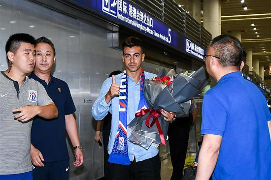 Stephan El Shaarawy of Italy arrives at Pudong International Airport in Shanghai in this July 8, 2019, photo, following his move from Serie A's AS Roma to Shanghai Greenland Shenhua in the Chinese Super League.
