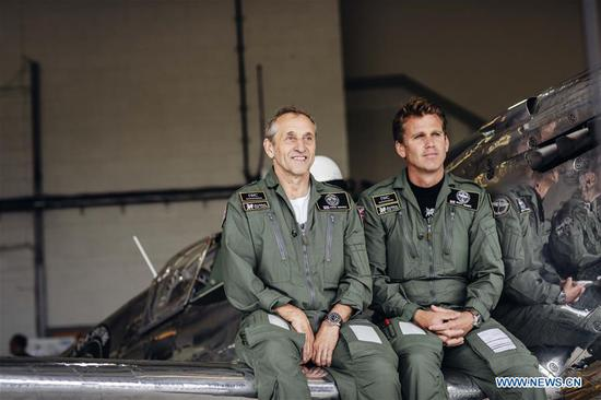 Photo provided by Goodwood shows Pilots Steve Brooks (L) and Matt Jones attending the celebration of the official start of the