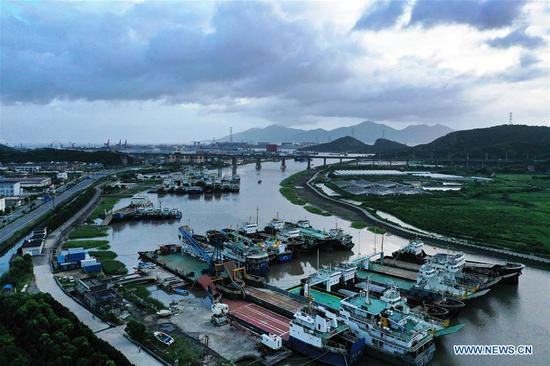 Photo taken on Aug. 8, 2019 shows ships berthed at a harbor in Zhoushan, east China's Zhejiang Province, Aug. 8, 2019. Provinces on the east coast of China have been busy getting prepared as Lekima, the ninth typhoon of the year, is moving northweastwards toward the mainland. (Photo by Yao Feng/Xinhua)