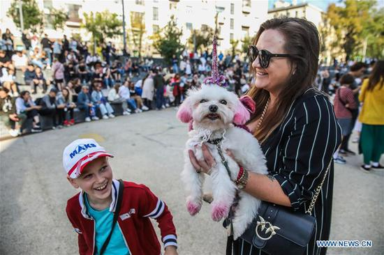 A dog wearing a unicorn costume is seen during the Doggie Party in Moscow, Russia, on Aug. 11, 2019. Doggie Party, a competition for dogs, took place on Sunday in Moscow. (Photo by Maxim Chernavsky/Xinhua)