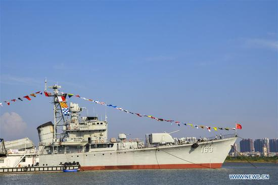 Photo taken on Aug. 8, 2019 shows DDG-163 Nanchang, a decommissioned destroyer ship which is now a military theme park, in Nanchang, east China's Jiangxi Province. After it was decommissioned in September 2016, DDG-163 Nanchang, a Type 051 guided-missile destroyer of the People's Liberation Army (PLA) Navy, remains a tourist attraction in Nanchang, the city after which it was named. To navy veteran Yang Shuangfeng, the last Chief Engineer on DDG-163, the ship means more like a comrade than a mere tourist destination. When DDG-163 went out of service, Yang had realized that it was hard for him to just give up on this