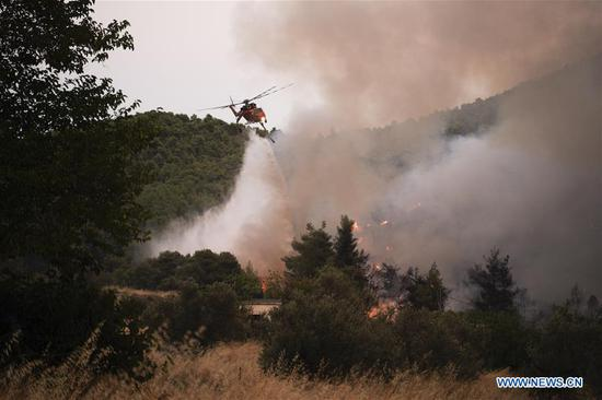 A water-dropping helicopter is seen battling a wildfire near Makrymalli village on Evia island, Greece, on Aug. 13, 2019. Greek firefighters battled the largest wildfires of this summer raging in two major fronts near Athens on Tuesday, local authorities said. More than 500 residents have been evacuated from three villages as a precautionary measure, according to the Fire Service. (Photo by Nick Paleologos/Xinhua)