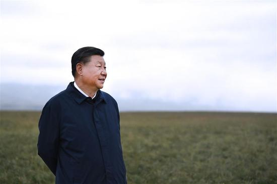 Chinese President Xi Jinping, also general secretary of the Communist Party of China Central Committee and chairman of the Central Military Commission, makes an inspection tour to the Bailie School and a horse ranch in Shandan County of Zhangye, northwest China's Gansu Province, Aug. 20, 2019. (Xinhua/Ju Peng)