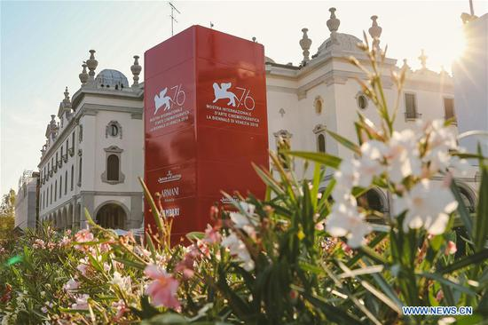 Flowers are see in front of the Cinema Palace prior to the 76th Venice International Film Festival in Venice Lido, Italy, Aug. 27, 2019. The 76th Venice International Film Festival will kick off here on Wednesday. (Xinhua/Zhang Cheng)