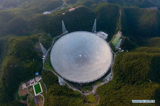 Aerial photo taken on Aug. 27, 2019 shows China's Five-hundred-meter Aperture Spherical radio Telescope (FAST) in southwest China's Guizhou Province. China's FAST, the world's largest single-dish radio telescope, will greet the third anniversary of operation that began in September 2016. (Xinhua/Ou Dongqu)