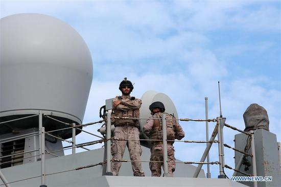 Members of the Spanish Navy stand guard on the Spanish Navy frigate Mendez Nunez (F-104) at a port in Manila, the Philippines, Sept. 5, 2019. The Spanish Navy frigate Mendez Nunez (F-104) docked in Manila for a port call on Thursday, the first Spanish warship to visit the Philippines since 1898, the Philippine Navy has said. (Xinhua/Rouelle Umali)