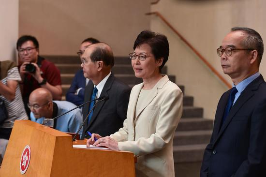 Chief Executive of China's Hong Kong Special Administrative Region (HKSAR) Carrie Lam speaks during a media session in Hong Kong, south China, Sept. 5, 2019. (Xinhua/Liu Dawei)
