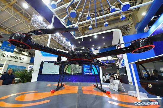 Photo taken on Sept. 6, 2019 shows a multi-rotor UAV (unmanned aerial vehicle) displayed at an exhibition of high technologies and equipment during the fourth China-Arab States Expo in Yinchuan, northwest China's Ningxia Hui Autonomous Region. The fourth China-Arab States Expo has helped promote cross-border high-tech exchange and cooperation. At an exhibition of high technologies and equipment held as part of the expo, visitors are exposed to major scientific and technological breakthroughs and state-of-the-art equipment developed by the high-tech sector. (Xinhua/Li Mangmang)