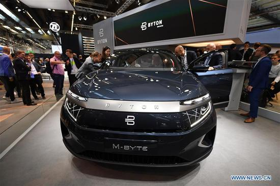 A Byton M-Byte is on display during the first press day of Germany's International Motor Show (IAA) 2019 in Frankfurt, Germany, on Sept. 10, 2019. First launched in 1897, the IAA is a leading motor show in the world. The IAA 2019 will last until Sept. 22, with the exhibition open to the general public from Sept. 14. (Xinhua/Lu Yang)