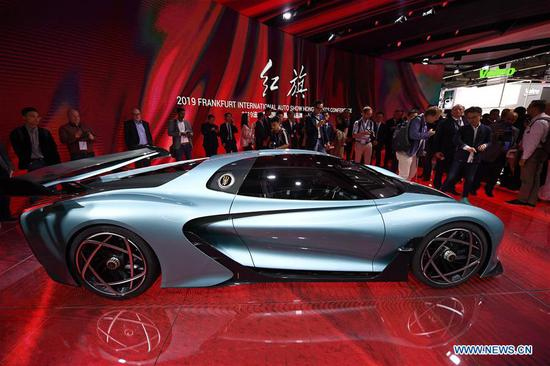 A FAW-Hongqi S9 concept car is on display during the first press day of Germany's International Motor Show (IAA) 2019 in Frankfurt, Germany, on Sept. 10, 2019. First launched in 1897, the IAA is a leading motor show in the world. The IAA 2019 will last until Sept. 22, with the exhibition open to the general public from Sept. 14. (Xinhua/Lu Yang)