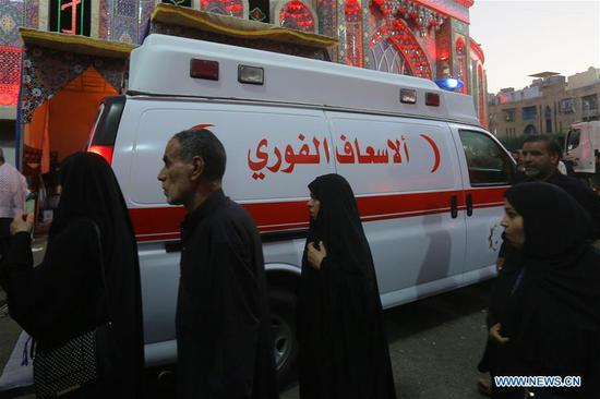 An ambulance arrives at the site where a stampede incident occurred in Karbala, Iraq, on Sept. 10, 2019. At least 31 Shiite pilgrims were killed and some 100 others were wounded on Tuesday in a stampede in the holy Shiite city of Karbala in south of Baghdad, Iraq's Health Ministry said. (Xinhua)