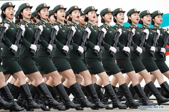 Chinese soldiers take part in parade training for the upcoming National Day celebrations in Beijing, capital of China, Sept. 11, 2019. Participants are busy preparing for the scheduled military parade in Beijing to celebrate the 70th anniversary of the founding of the People's Republic of China on Oct. 1. (Xinhua/Li Gang)