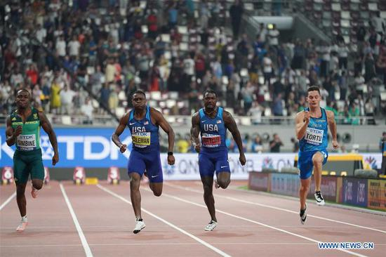 Christian Coleman (2nd L) of the United States competes during the men's 100m final at the 2019 IAAF World Athletics Championships in Doha, Qatar, on Sept. 28, 2019. (Xinhua/Li Gang)