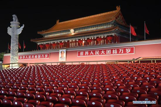 Photo taken on Oct. 1, 2019 shows the night view of the Tian'anmen Rostrum in Beijing, capital of China. (Xinhua/Luo Xiaoguang)