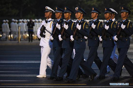 Troops make preparation for the military parade marking the 70th anniversary of the founding of the People's Republic of China (PRC) in Beijing, capital of China, Oct. 1, 2019. (Xinhua/Fan Peishen)