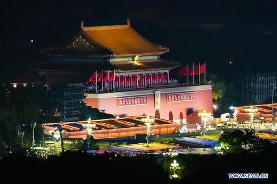 Photo taken on Oct. 1, 2019 shows the night view of the Tian'anmen Rostrum in Beijing, capital of China. (Xinhua/Liu Jinhai)