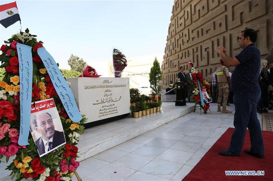 People visit the Sadat Memorial on the occasion of the 46th anniversary of the October War in Cairo, Egypt, on Oct. 6, 2019. Egyptians commemorated on Sunday the 46th anniversary of the October War, also known as the 1973 Arab-Israeli War. (Xinhua/Ahmed Gomma)