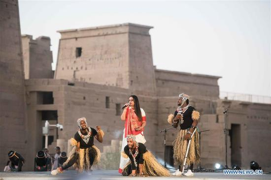 Artists stage performance at Philae Temple in Aswan, Egypt, on Oct. 27, 2019. The fourth edition of the Afro-Chinese Arts and Folklore Festival kicked off on Sunday inside ancient Philae Temple in Upper Egypt's Province of Aswan. (Xinhua/Wu Huiwo)