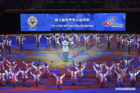 Photo taken on Oct. 27, 2019 shows the art performance during the closing ceremony of the 7th CISM Military World Games in Wuhan, capital of central China's Hubei Province. (Xinhua/Chen Yehua)