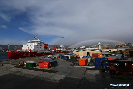 China's polar icebreaker Xuelong, or Snow Dragon, docks at the port of Hobart, Australia, Nov. 7, 2019. China's polar icebreaker Xuelong 2, or Snow Dragon 2, docked at the port of Hobart on Nov. 4. Both Xuelong and Xuelong 2 joined the country's 36th Antarctic expedition, marking the first time for two polar icebreakers to work together on China's Antarctic expedition. After their first encounter in Hobart, the two icebreakers will meet again at the Zhongshan Station. (Xinhua/Liu Shiping)