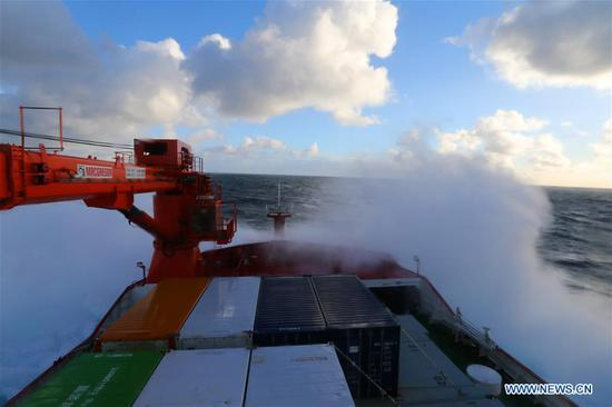 China's polar icebreaker Xuelong 2, or Snow Dragon 2, sails across westerlies on Nov. 9, 2019. China's first domestically made polar icebreaker Xuelong 2 departed from Australia's port of Hobart Saturday and continues its maiden voyage to the Zhongshan Station for China's 36th Antarctic expedition. (Xinhua/Liu Shiping)