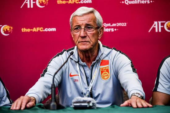 China's national team head coach Marcello Lippi speaks at a press conference after the 2022 World Cup qualifier between China and Syria in Dubai, United Arab Emirates, on Thursday night. The 70-year-old Italian announced his resignation following the 1-2 loss.