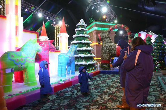 一年一度的中国冰雕展在德州举行 2