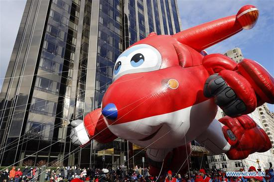 The balloon of Jett by Super Wings is seen during the 2019 Macy's Thanksgiving Day Parade in New York, the United States, on Nov. 28, 2019. (Xinhua/Li Muzi)