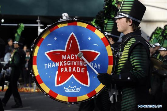 Members of a band perform during the 2019 Macy's Thanksgiving Day Parade in New York, the United States, on Nov. 28, 2019. (Xinhua/Li Muzi)