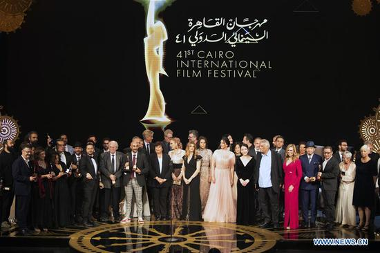 Photo taken on Nov. 29, 2019 shows the awarding ceremony of Cairo International Film Festival in Cairo, Egypt. The 41st edition of Egypt's Cairo International Film Festival (CIFF) concluded Friday night at Cairo Opera House with China's movie
