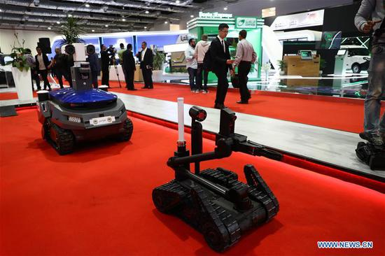 Photo taken on Dec. 1, 2019 shows the booth of Egypt's Ministry of Defense during the 23rd Information and Communications Technology Exhibition and Conference in Cairo, Egypt. Chinese corporations took part in a large information and communications technology exhibition starting from Sunday in Cairo with the participation of around 500 international and local companies. (Xinhua/Ahmed Gomaa)
