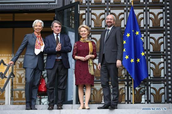 European Council President Charles Michel, European Commission President Ursula von der Leyen, European Parliament President David Sassoli and European Central Bank President Christine Lagarde (R-L) prepare to attend a ceremony to mark the 10th anniversary of the entry into force of the Lisbon Treaty, at the House of European History in Brussels, Belgium, Dec. 1, 2019. (Xinhua/Zhang Cheng)