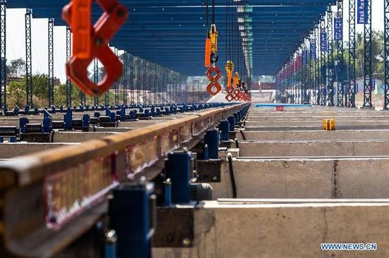 Photo taken on Dec. 2, 2019 shows the welding base for the China-Laos railway project in Vientiane, Laos. On the 44th anniversary of the funding of the Lao People's Democratic Republic on Dec. 2, 2019, the China Railway No.2 Engineering Group (CREC-2) has welded the first 500-meter-long rail for the China-Laos railway project in Lao capital Vientiane. The rail, which is to be installed along the seamless China-Laos railway, is also the first long railway rail in the history of Lao transportation, of southeastern Asian transportation and is also the longest one in Asia so far, except in China. The success of the welding also marked that the welding base for the China-Laos railway project was formally put into operation, laying a solid foundation for the railing of the China-Laos Railway. (Photo by Kaikeo Saiyasane/Xinhua)