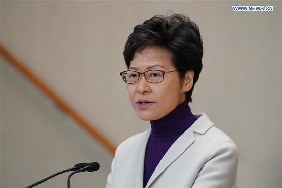 Chief Executive of China's Hong Kong Special Administrative Region (HKSAR) Carrie Lam speaks during a press conference in Hong Kong, south China, Dec. 3, 2019. Chief Executive of China's Hong Kong Special Administrative Region (HKSAR) Carrie Lam said Tuesday that more relief measures will be rolled out soon to help businesses and residents weather out economic hardship, following three rounds of such policies adopted during the past months. (Xinhua/Lui Siu Wai)
