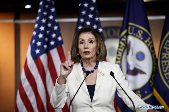 U.S. House Speaker Nancy Pelosi speaks during a press conference on Capitol Hill in Washington D.C., the United States, on Dec. 5, 2019. Nancy Pelosi has greenlighted the drafting of articles of impeachment against President Donald Trump, as the White House braces for a Senate trial. (Photo by Ting Shen/Xinhua)