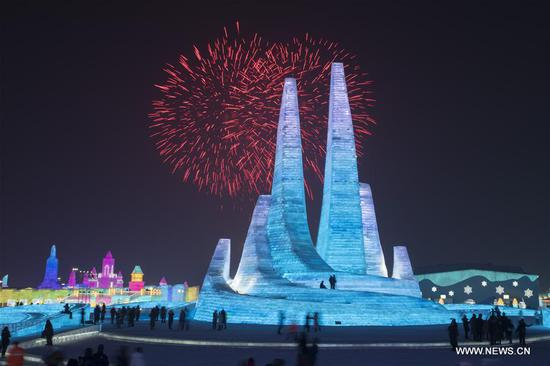Fireworks explode to celebrate the opening of the 36th Harbin Ice and Snow Festival at Harbin Ice-Snow World in Harbin, capital of China's northernmost Heilongjiang Province, Jan. 5, 2020. The annual Harbin Ice and Snow Festival opened to public here on Sunday. (Xinhua/Zhang Tao)