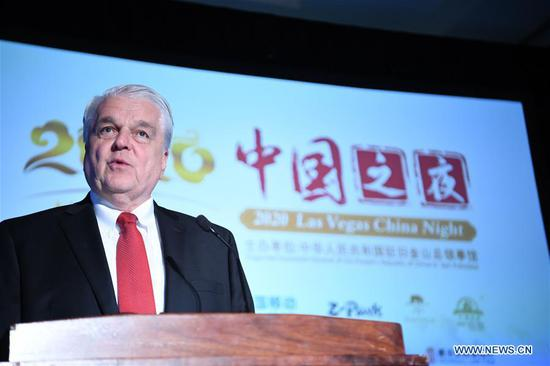 Nevada Governor Steve Sisolak addresses the 2020 Las Vegas China Night in Las Vegas, the United States, Jan. 6, 2020. The 2020 Las Vegas China Night was held on the eve of the 2020 Consumer Electronics Show (CES) in Las Vegas, to promote more communication and cooperation between Chinese and American companies in the field of consumer electronics. (Xinhua/Wu Xiaoling)