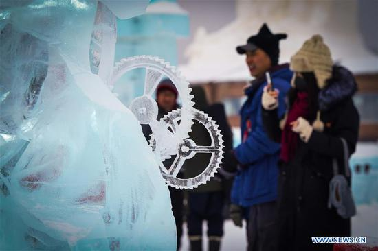 Photo taken on Jan. 8, 2020 shows part of the ice sculpture of Russian team at the 34th Harbin International Ice Sculpture Competition in the Harbin Ice and Snow World in Harbin, northeast China's Heilongjiang Province. The 34th Harbin International Ice Sculpture Competition concluded in Harbin on Wednesday. The ice sculpture made by a Russian team won the first prize at the end of the competition. (Xinhua/Wang Song)