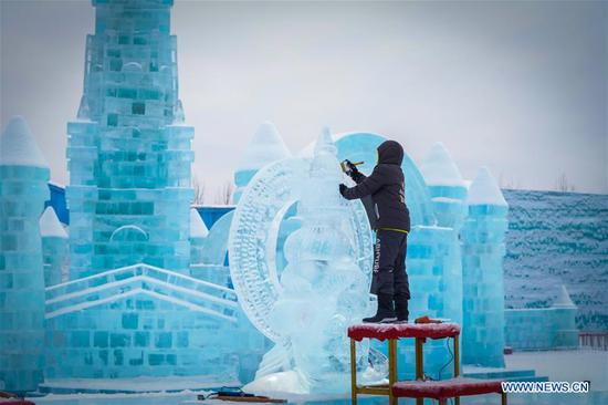 A competitor from India creates a work during the 34th Harbin International Ice Sculpture Competition in the Harbin Ice and Snow World in Harbin, northeast China's Heilongjiang Province, Jan. 8, 2020. The 34th Harbin International Ice Sculpture Competition concluded in Harbin on Wednesday. The ice sculpture made by a Russian team won the first prize at the end of the competition. (Xinhua/Wang Song)
