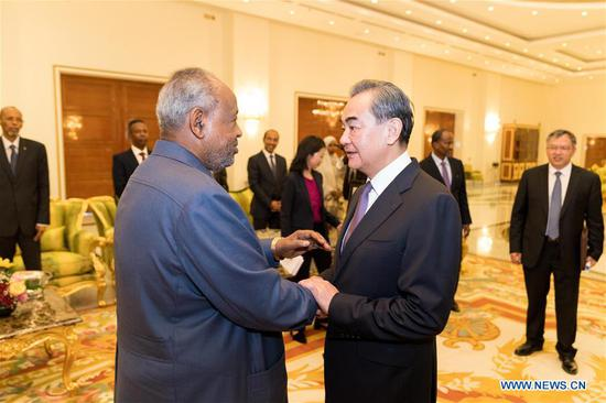 Djibouti President Ismail Omar Guelleh meets with Chinese State Councilor and Foreign Minister Wang Yi in Djibouti, capital of Djibouti, Jan. 9, 2020. (Xinhua/Xie Han)