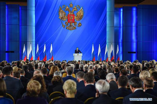 Russian President Vladimir Putin speaks during the annual address to Russia's Federal Assembly in Moscow, Russia, Jan. 15, 2020. (Photo by Evgeny Sinitsyn/Xinhua)